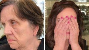 Vuole essere bella nonostante i suoi 80 anni: in pochi minuti si trasforma grazie al trucco