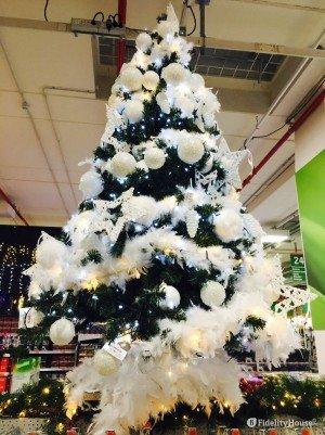 Idee per decorare l'Albero di Natale usando solo decorazioni bianche